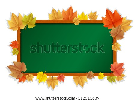 illustration of wooden blackboard with leaves