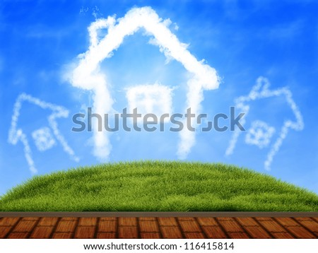 Illustration of wooden terrace, green grass and blue sky.