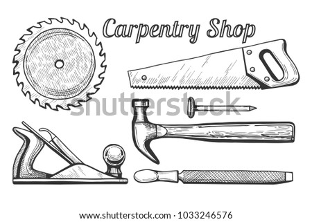 illustration of woodworking or carpentry equipment tools icons. Instruments: circular or miter saw blade, plane, hammer and nail, hand saw, file. Hand drawn engraving style.