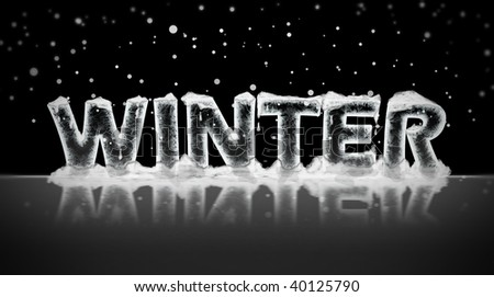 Word winter written in ice under snowing sky at night. - stock photo