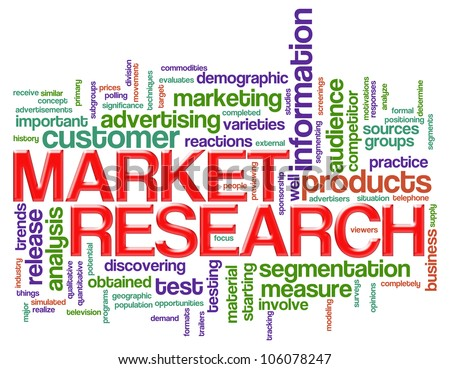 Illustration of wordcloud of market research concept