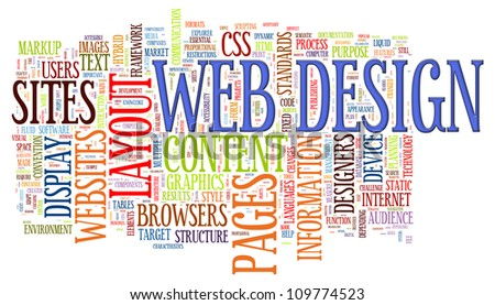 Illustration of wordcloud of web design tags