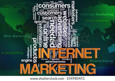 Illustration of wordcloud of web internet marketing concept.