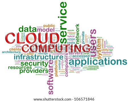 "Illustration of wordcloud related to concept ""cloud computing"""