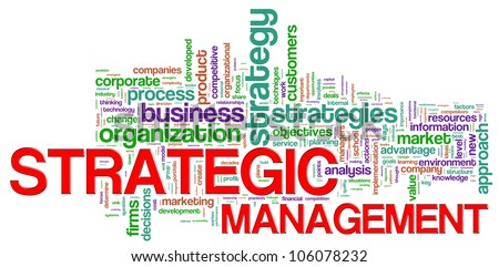 Illustration of Wordcloud representing strategic management concept