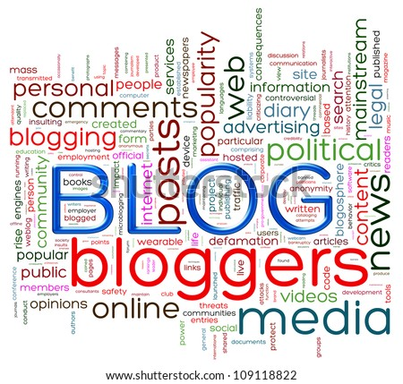 Illustration of wordcloud representing words related to blog