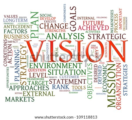 Illustration of wordcloud representing words related to vision - stock photo