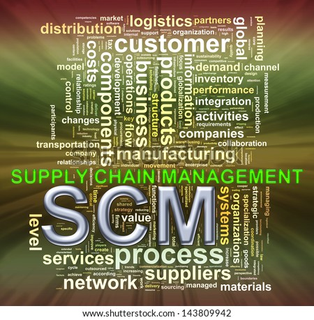Illustration of wordcloud word tags of scm supply chain management