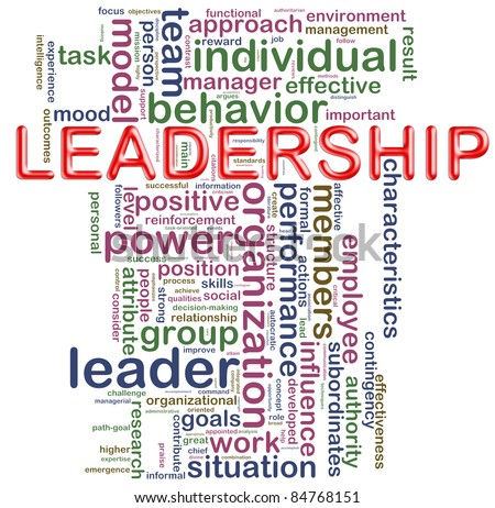 Illustration of Words in a wordcloud of 'leadership - stock photo