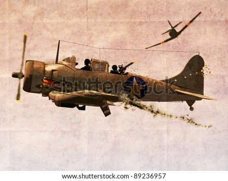 Illustration of  World War two Dauntless Dive Bomber Plane engaged in a dogfight on grunge background.