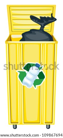 illustration of yellow dustbin on a white background