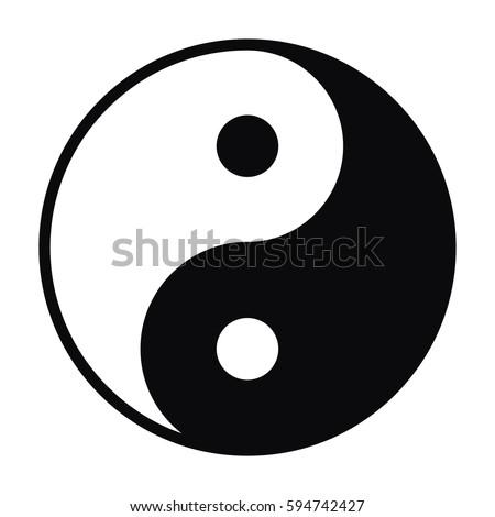 Illustration of Yin and Yang symbol isolated on white background