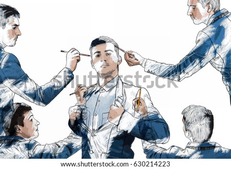 Illustration of young businessman in different poses draw himself using a magic pencil. Mannequin idea concept, create new identity, the best model of you, leader. Creative art isolated on white. ストックフォト ©