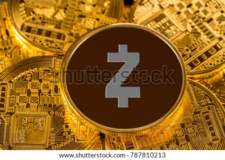Illustration of Zcash coin on gold background to illustrate blockchain and cyber currency #787810213