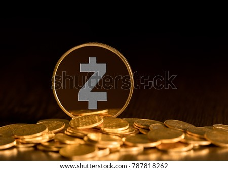 Illustration of Zcash coin on gold background to illustrate blockchain and cyber currency #787818262