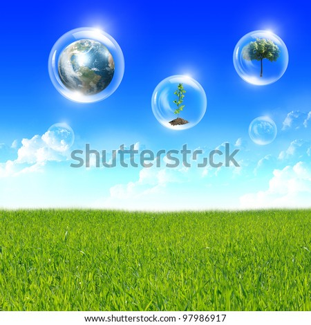 Illustration ofair bubbles with green plant inside as symbol of nature protection