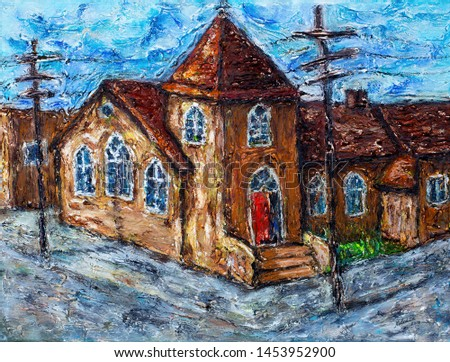 Illustration oil painting of an old historic Canadian church heritage building in a town, Alberta, Canada.