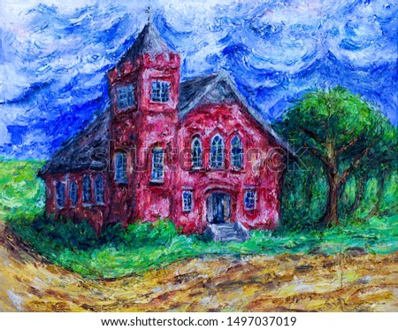 Illustration oil painting of an old historic Canadian church heritage building in rural landscape in Saskatchewan, Canada.