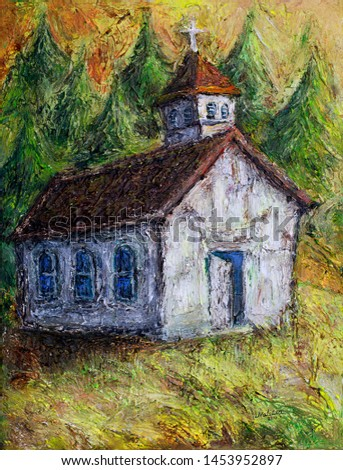 Illustration oil painting of an old native Canadian heritage historic church building in a countryside landscape, British Columbia, Canada.