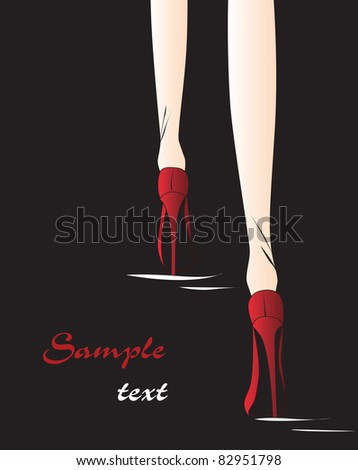Illustration On A Black Background With Two Red Shoes Red, High ...