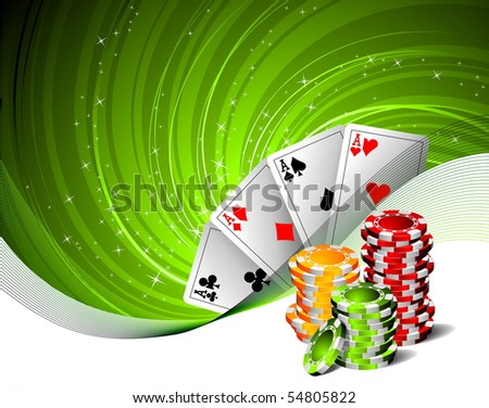 illustration on a casino theme with playing cards and poker chips (raster format)