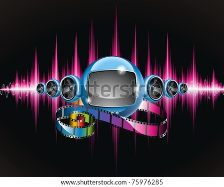 Illustration on a media and movie  theme with futuristic tv on abstract shiny background.