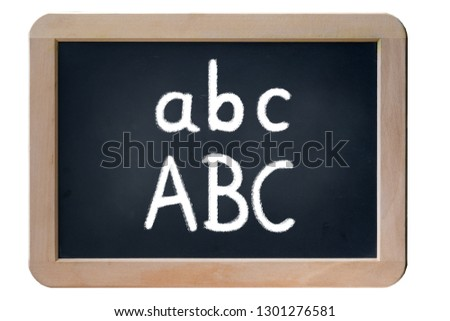 Illustration on a school blackboard with handwritten text ABC ABC