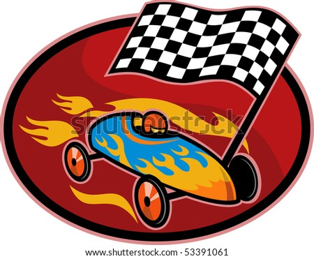illustration on the sport of Soap box derby racing with race flag set inside a circle