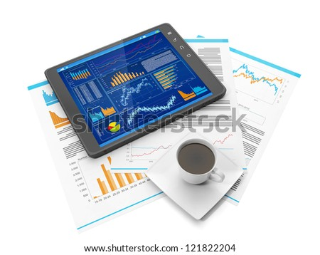 Illustration on the theme of business. Tablet PC biznres site, a coffee mug and business documents
