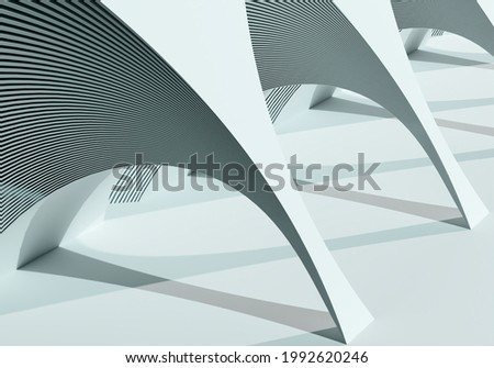 Illustration on topic of modern architecture. Visualization of a fragment of real estate with many arches. White arches casting a shadow. Modern architecture design. 3d rendering.