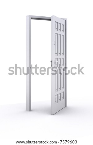 Illustration. Open door: white on white background - stock photo