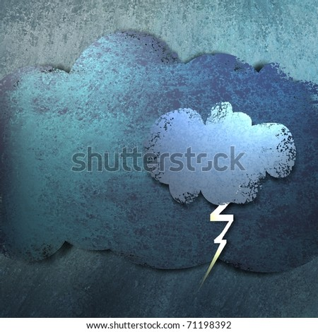 illustration or cute cartoon of weather forecast, rain storm, lightning and thunder bolt, and layered clouds with blue background, grunge texture, and highlights