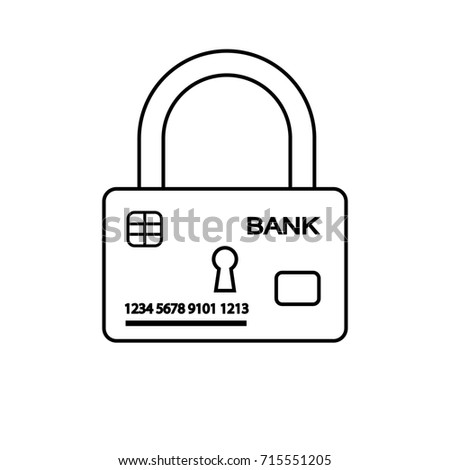 illustration. Outline icon of security of electronic, online payments and safety of money. Bank card and lock.