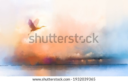 Illustration painting art colorful animal (bird) in nature. Autumn,summer season background.Abstract image silhouette of white goose fly in the sky with watercolor paint.Wildlife and outdoor landscape
