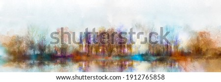 Illustration painting colorful autumn, summer season nature background. Abstract art image of forest, tree with yellow, red leaf, blue cloud in sky and lake with watercolor paint. Outdoor landscape Foto stock ©