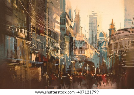 Illustration painting of city street,vintage style