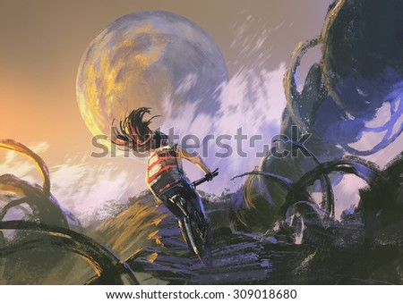 illustration painting of cyclist riding a mountain bike climbing on the rocky peak