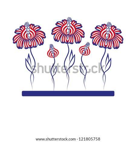illustration - patriotic flowers. Background, american symbols.