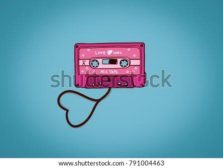 Illustration Pink cassette tape love song mixtape,valentine day background