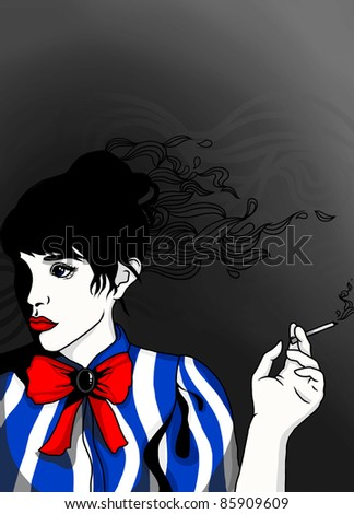 illustration portrait of beautiful brunette with cigarette and red bow, image looking not search shutterstock try you
