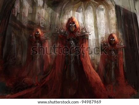 illustration priest  in gothic cathedral