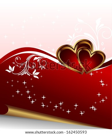 Illustration red heart, Valentine glowing background - raster
