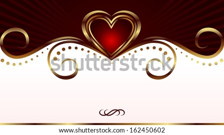 Illustration red heart, Valentine glowing background - raster - stock photo