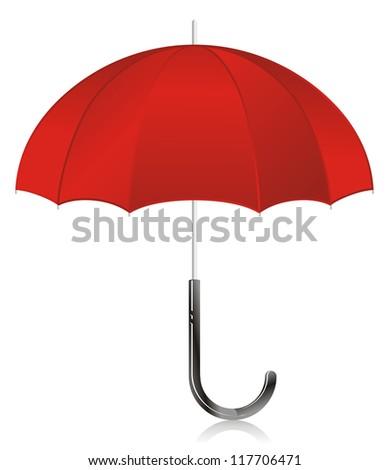 Illustration - red open umbrella