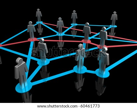 Illustration representing a network of connected people on a black background