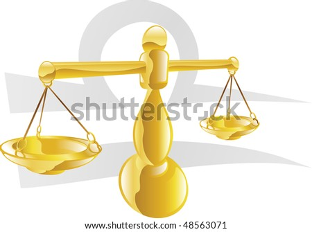 Illustration representing Libra the scales star or birth sign. Includes the symbol or icon in the background