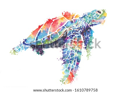 Illustration sea turtle painted with watercolors.The image of sea creatures swimming underwater world.Amphibian reptiles painted with brushes and isolated on a white background. Stock foto ©