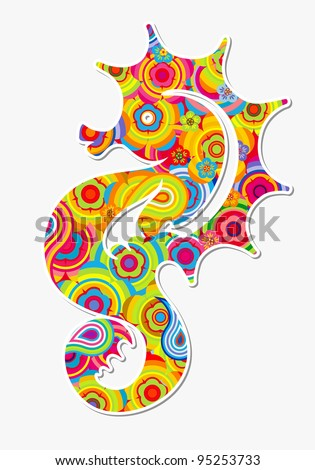 Illustration - seahorse (hippocampus)  Abstract colorful background.