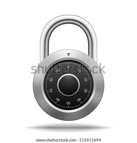 Illustration Security Padlock. Chrome steel with dial isolated on white - stock photo