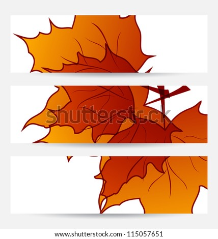 Illustration set autumnal cards with maple leaves - raster